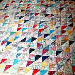 Vintage Half Square Triangle PATCHWORK QUILT Hand Made 80 X 84 Heavy Tufted