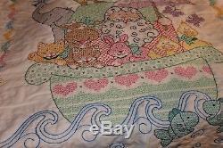 Vintage Hand Cross Stitched Crib Quilt Noah's Ark