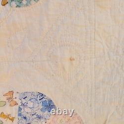 Vintage Hand Made 48 x 84 Feed Sack Dresden Plate Patchwork Quilt