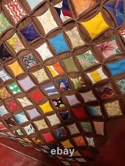 Vintage Hand Made Cathedral Window Hand Made Quilt