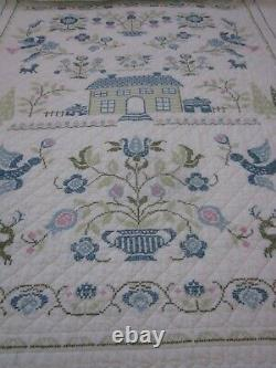 Vintage Hand Made Cross Stitch Quilt Blue & White 90 x 78 Its A Masterpiece