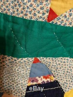 Vintage Hand Made Feedsack 1940s Star Quilt 74 X 87