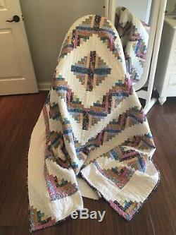 Vintage Hand Made Feedsack and Cream Log Cabin Quilt 90 X 104 Star Free Shipping
