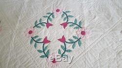 Vintage Hand Made Folk Art Appliqued Floral Wreath Design Quilt