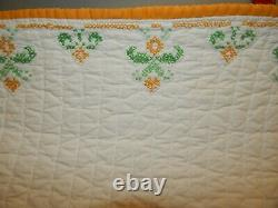 Vintage Hand Made Golden Yellow & Green Cross Stitch Embroidered Quilt 86x78