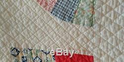 Vintage Hand Made Hand Stitched Fan Quilt Red Border 68 x 76