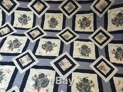 Vintage Hand Made Handmade Patchwork Quilt Floral Stripe Throw Bed Cover