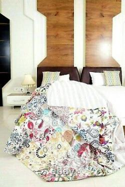Vintage Hand Made Patchwork Kantha Quilt Bed Spread Throw King Size Home Decor