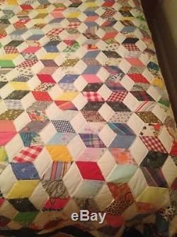 Vintage Hand Made Patchwork, Multi Color Tumbling Blocks, King Size Quilt