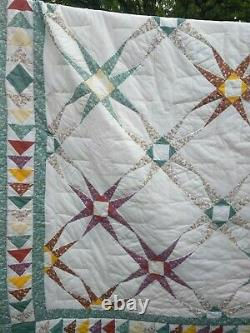 Vintage Hand Made Patchwork Quilt Star pattern 86 x 86 multicolor reversible