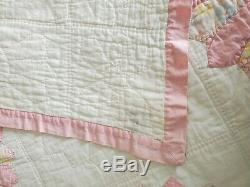 Vintage Hand Made Pink Patterned Dresden Plate Quilt 76 x 94