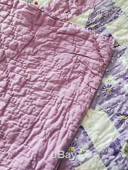 Vintage Hand Made Purple Patterned Quilt 74 x 80 Hand Stitched Signed