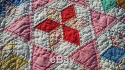Vintage Hand Made Quilt 80 x 64 Star Pattern