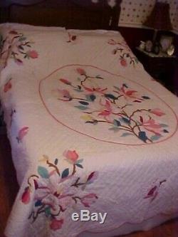 Vintage Hand Made Quilt, Appliqued Pink Flowers And Leaves Design