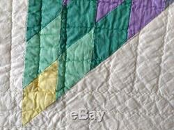Vintage Hand-Made Star Quilt, Queen/Double 100x101 Excellent