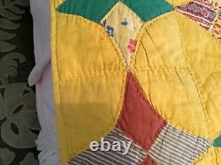 Vintage Hand Made Stitched 4 Point Star Quilt Feedsack 66 x 83 Yellow Pink