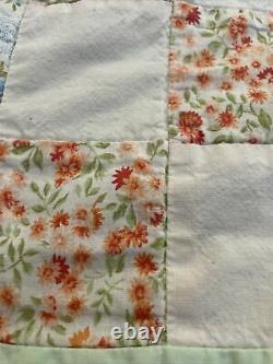 Vintage Hand Made Stitched Quilt Squares Size 87 x 79 Lightweight