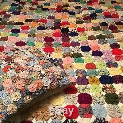 Vintage Hand Made Yo Yo Coverlet And Yo Yo Pillow! Gorgeous! 78 X 68