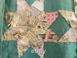Vintage Hand Pieced 8 Point Star Quilt Top
