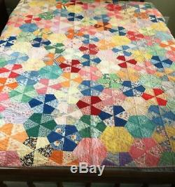 Vintage Hand Sewn Handmade Feed sack Wheel Quilt Hexagon Vibrant Queen