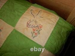 Vintage Hand Sewn Quilt Queen Size 95 x 96 Handmade RARE Bird/State Pattern