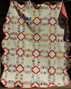 Vintage Hand Stitched Quilt Handmade Wedding Ring Red White Polka Dot 73 X 88