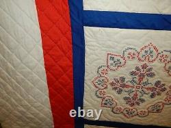Vintage Hand Stitched Red White & Blue Embroidered Patriotic Quilt 94x85