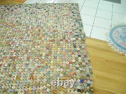 Vintage Hand made YOYO Quilt, 1 1/2 diameter delicate thin material old ati