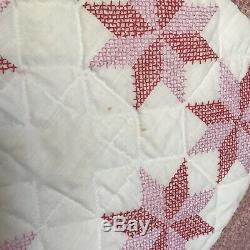 Vintage HandStitched Cross Stitch StarPatchwork Cotton Quilt 80.5X101 Handmade
