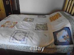 Vintage Handkerchief Quilt Top- Handmade Full/ Queen- Size