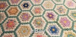 Vintage Handmade 123 Flower Quilt 84 x 74