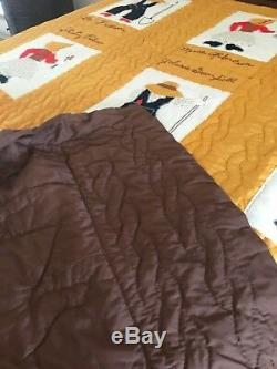 Vintage Handmade 16 Squares Sunbonnet Sue/Farmer Sam Quilt Hand Stitched Queen