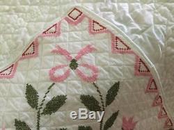 Vintage Handmade 1976 Cross Stitch Quilt