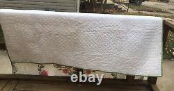 Vintage Handmade 1980s Quilt 90 X 77Full White Pink, Green Cross Stitch Flowers