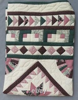 Vintage Handmade Amish Quilt Amana Colonies Flying Geese 8-Pt Star 45 In Square