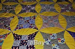 Vintage Handmade Antique Patchwork Quilt 83x75 Inches Excellent Condition
