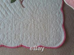Vintage Handmade Applique Dogwood Blossom Quilt Approx. 74 x 88 Hand Quilted