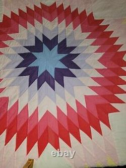Vintage Handmade Big Multicolor Patch Starburst Quilt King/Queen Size 102x84 New