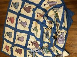 Vintage Handmade Block Quilt SUN BONNET King Size 81 x 91