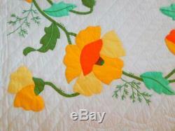 Vintage Handmade Bucilla GARDEN POPPIES APPLIQUE QUILT Yellow Orange 89 x 104