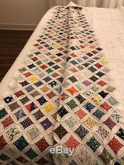 Vintage Handmade Cathedral Window QUILT With Artist Authenticity. 81 X 90