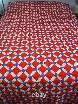 Vintage Handmade Cathedral Window Quilt 80 x 90 Red, White and Blue