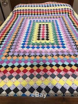 Vintage Handmade Cotton Quilt Multi Blocks Flour Sack Patchwork Gorgeous