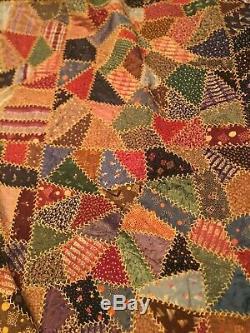 Vintage Handmade Crazy Log Cabin Quilt Great Colors Reversible 78 x 80