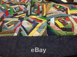 Vintage Handmade Crazy Patch Quilt In Unused/New Cond. Double 84 X 95.5
