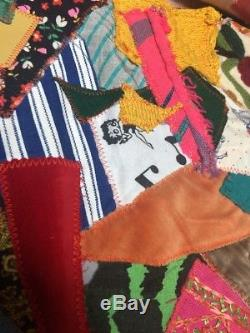 Vintage Handmade Crazy Quilt Blanket Hippie Boho 70s 80s 100 X 84