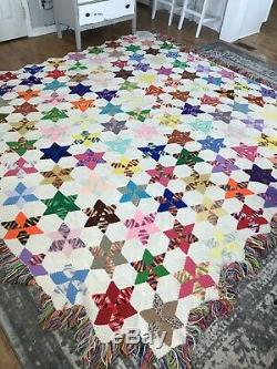 Vintage Handmade Crochet Granny Square Afghan Blanket Star Quilt King 122x114