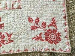 Vintage Handmade Cross Stitch Embroidered Quilt, Large size 79x90