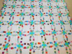 Vintage Handmade DOUBLE WEDDING RING QUILT Cotton Prints Brown Backing 90x90