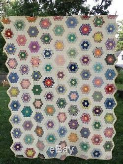 Vintage Handmade Feedsack Quilt, Grandma's Flower Hand Sewn